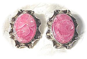 Sterling Silver & Rose Quartz Clip  Earrings (Image1)