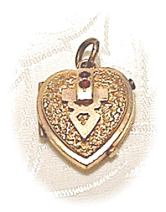 Heart Picture Locket Gold Fill with Ruby/Garnet (Image1)