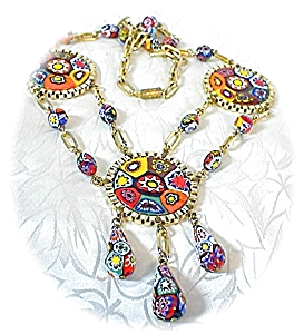 MILLAFIORE Disc Drop Glass Bead Necklace Italy (Image1)