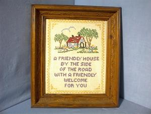 Hand Made Cross Stitch Framed Picture