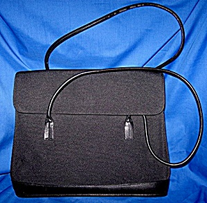 ANN TAYLOR Bag, Black Canvas & Leather (Image1)