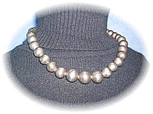 Necklace Vintage Sterling Silver Graduated Beads (Image1)