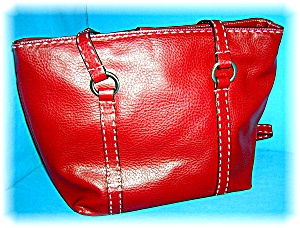 Bag Red Leather White Stiched Relic Tote