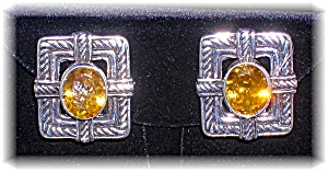 Earrings Sterling Silver Citrine Taxco Mexico Clip  (Image1)