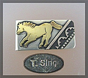 Tommy Singer Horse Money Clip Pendant Silver, Gold