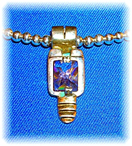 Pendant Sterling Silver faceted Amethyst Gold  (Image1)