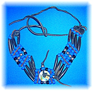 Glass Bone Leather Bead Ethnic Necklace (Image1)