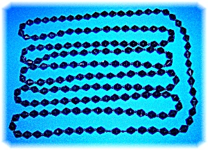 French Jet Glass Hand Knotted 76 Inch Necklace
