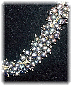 Necklace Sterling Silver Grey Freshwater Pearls (Image1)