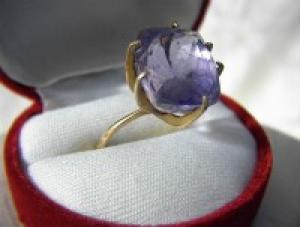 Ring  18K Gold and Claw set Natural Amethyst  (Image1)