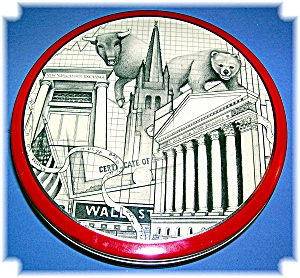 BULL AND BEAR STOCK MARKET WALL STREET TIN CANISTER (Image1)