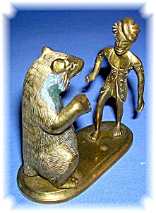 BRASS FIGURINE BEAR AND MAN - INDIA ? (Image1)