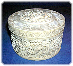 Ivory Box carved, Dragon with lid (Image1)