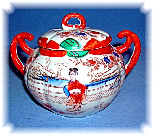 Geisha Girl Porcelain Sugar Bowl With Lid