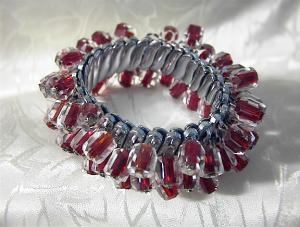 Ruby Red/clear Glass Bead Bracelet Japan