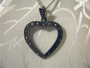 Sterling Silver Marquisite Heart Necklace (Image1)