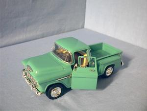 1955 Chevy Stepside Green Metal Car (Image1)