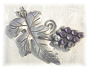 Mexico Amethyst Sterling Silver Vintage 40s Brooch  (Image1)