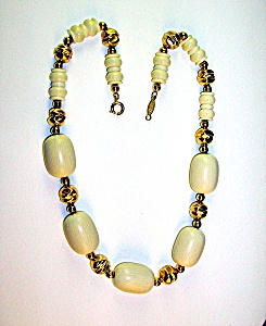 Faux Ivory & Goldtone Signed NAPIER Necklace (Image1)