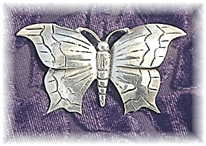 Fabulous Large Sterling Silver Butterfly Broo (Image1)