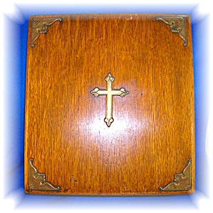 Oak Religious Wooden Box Brass Cross, purple lining (Image1)
