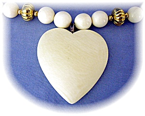 Bone Ivory Heart Antique  Beads Necklace  (Image1)