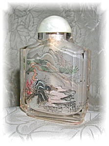 SNUFF BOTTLE Glass Reverse painted (Image1)