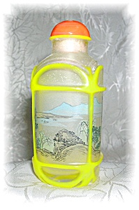 REVERSE  PAINTED SNUFF BOTTLE ORANGE TOP (Image1)