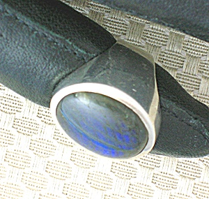 Sterling Silver Hand Made Ring from Peru Blue Tan Stone (Image1)
