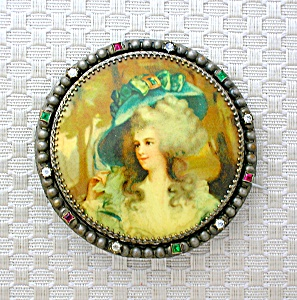 Lucite Paste/Rhinestone Cameo Brooch Brass Set (Image1)