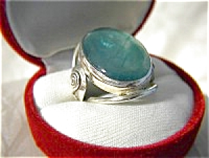 Huge Sterling Silver And Blue Green Stone Ring . . . .