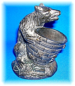 TOOTHPICK HOLDER BLACK BEAR MARKED THE HALDON GROUP '91 (Image1)