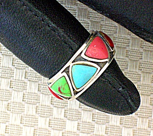 Sterling Silver Coral Turquoise Band Hearts Ring (Image1)