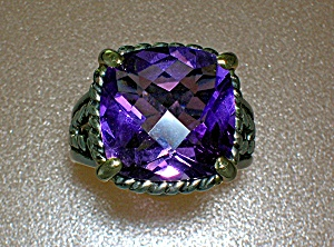 Ring 14K Gold Sterling Silver and Amethyst  Mark AE 14K (Image1)