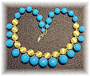Vintage Napier Plastic/Lucite Gold Bead Neckl (Image1)