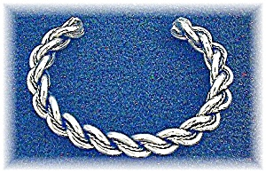 Silver Rope Twist  Cuff Bracelet (Image1)