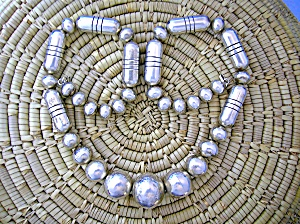 Native American Sterling Silver Barrel Round Beads Mclb