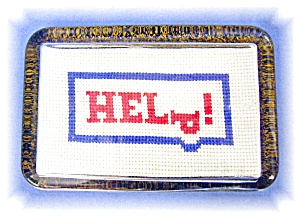 Vintage Glass Cross Stitch Paperweight (Image1)