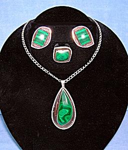 Sterling Silver  Malachite Artist IK Pendant Ring Earri (Image1)