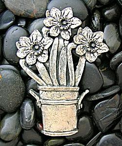Silver Pot Of Flowers Brooch SHERIDAN (Image1)
