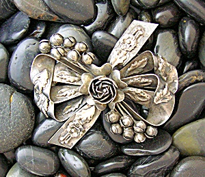 Sterling Silver Hobe Antique Bow Brooch