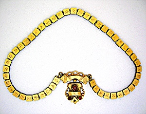 Gold Victorian Bookchain Ruby Necklace and Pendant (Image1)