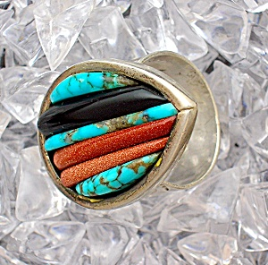 Native American Sterling Silver Turquoise Coral Cornrow