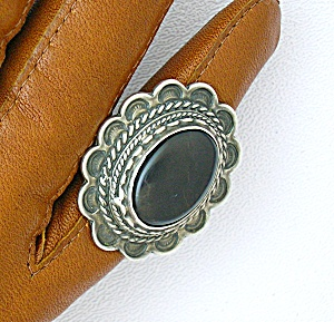 Sterling Silver Black Onyx Native American Ring. (Image1)