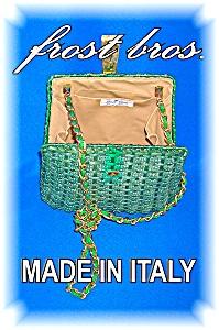 VINTAGE HANDBAG PURSE ITALY BAKELITE LUCITE CLOSURE (Image1)