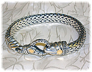 BraceletSterling Silver Gold Accent Lobster Hook Signed (Image1)
