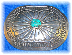 Sterling Silver Turquoise Belt buckle (Image1)