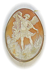 Cameo Brooch Roman God Victorian Shell 9ct Gold (Image1)