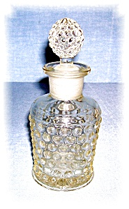 Clear Glass Hobnial Bottle With Stopper