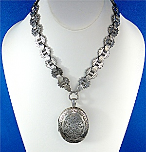 Necklace Victorian Hallmarked Locket Bookchain